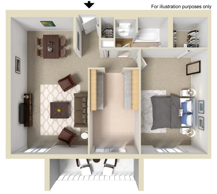 1BR Floorplan at Wilshire Towers Apartments